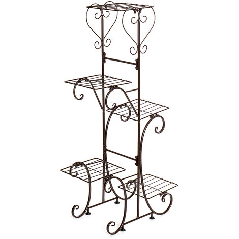 5 Tier Metal Plant Pot Rack, Flower Display Stand, Patio, Garden, Home (Brown, Square Racks)