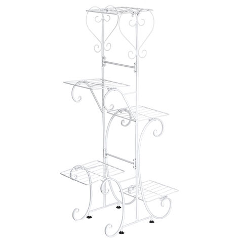 5 Tier Metal Plant Pot Rack Flower Stand Display Patio Garden Home (White, Square Racks)