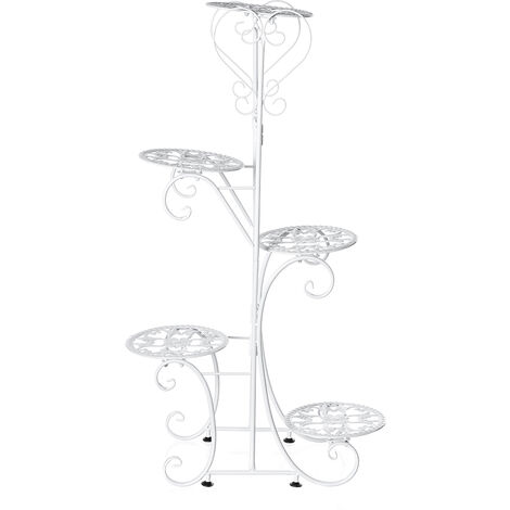 5 Tier Metal Plant Pot Rack Flower Stand Display Patio Home Garden (White, Round Racks)