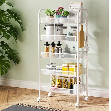 5 Tier Mobile Kitchen Food Mesh Storage Trolley Basket Shelf