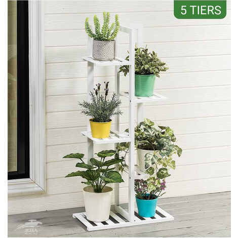 5 tier natural bamboo flower shelf wooden plant stand 45 x 22 x 103cm