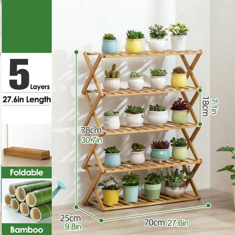 5 Tier Plant Shelf 70cm Bamboo Plant Holder Home Flower Display Stand