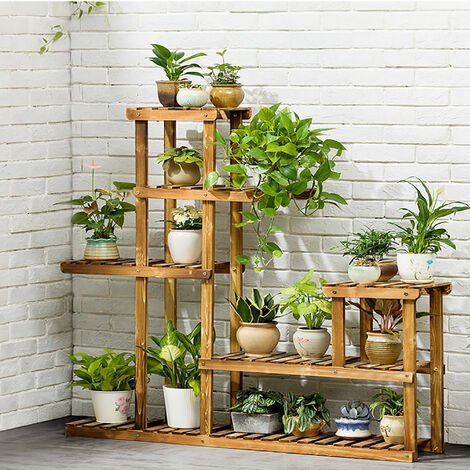 5 Tier Plant Stand Garden Display Shelf Wooden Flower Pots Holder Rack