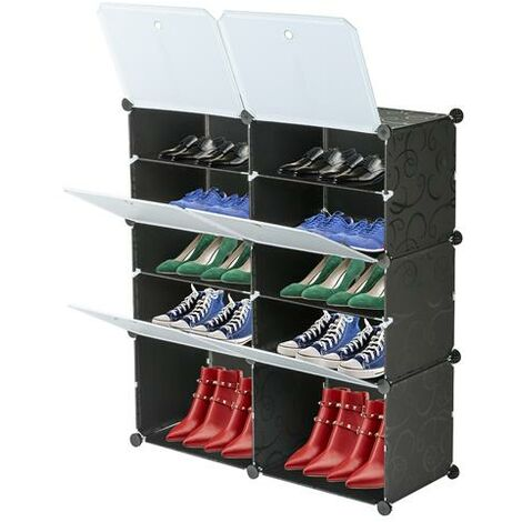 5-Tier Portable 20 Pair Shoe Rack Organizer 10 Grids Tower Shelf Storage Cabinet Stand Expandable for Heels, Boots, Slippers - Different colours