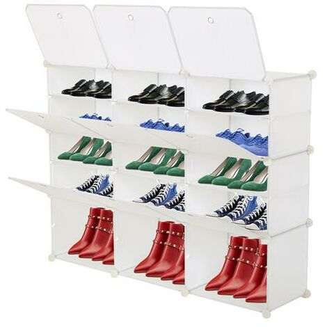 5-Tier Portable 30 Pair Shoe Rack Organizer 15 Grids Tower Shelf Storage Cabinet Stand Expandable for Heels, Boots, Slippers, Black