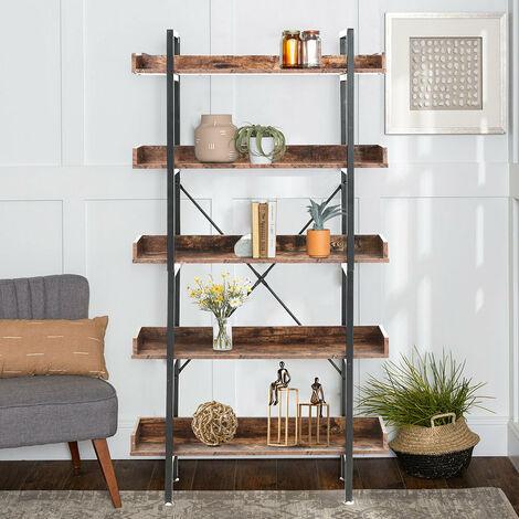 5 Tier Rustic Shelf Bookcase Bookshelf Storage Rack Display Plant Stand Unit