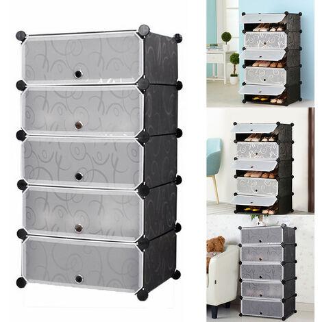 5 Tier Shoe Stand Books Storage Shelf Plastic Modular Display Racks Cabinet
