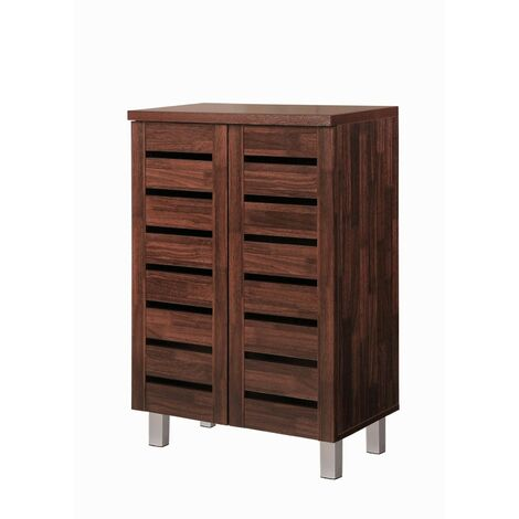 5 Tier Shoe Storage Cabinet 2 Door Cupboard Stand Rack Unit Dirty Oak