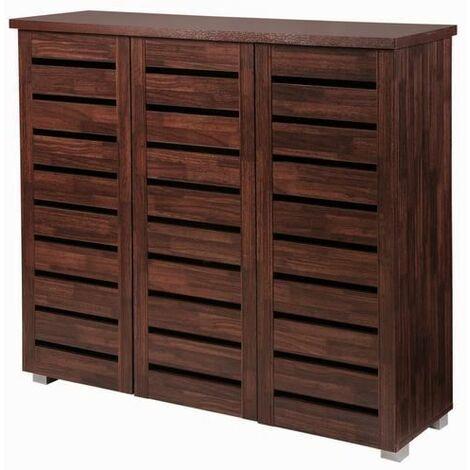 5 Tier Shoe Storage Cabinet 3 Door Cupboard Stand Rack Unit Dirty Oak