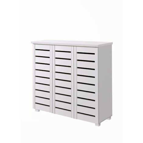 5 Tier Shoe Storage Cabinet 3 Door Cupboard Stand Rack Unit White