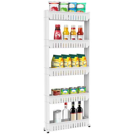 5 Tier Slim Slide Cart Out Kitchen Bathroom Thin Storage Trolley Cart Rack