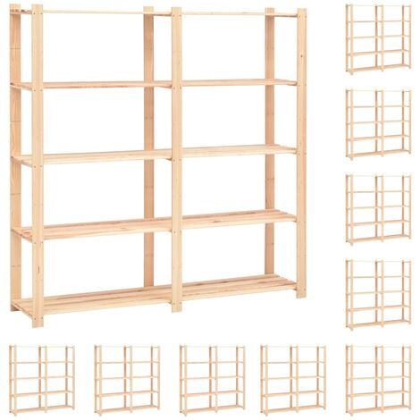 5-Tier Storage Racks 10 pcs 170x38x170 cm Solid Pinewood 500 kg