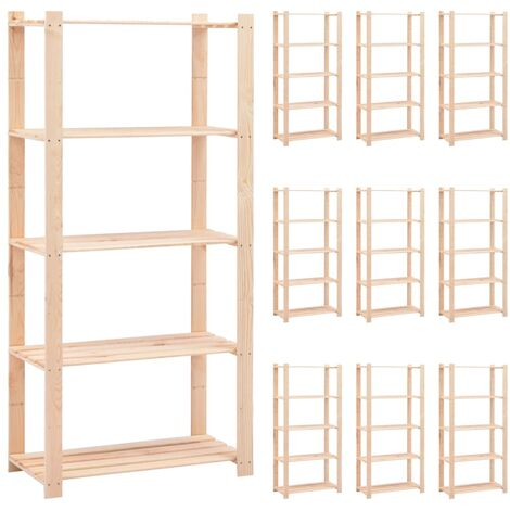 5-Tier Storage Racks 10 pcs 80x38x170 cm Solid Pinewood 250 kg