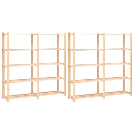 5-Tier Storage Racks 2 pcs 170x38x170 cm Solid Pinewood 500 kg