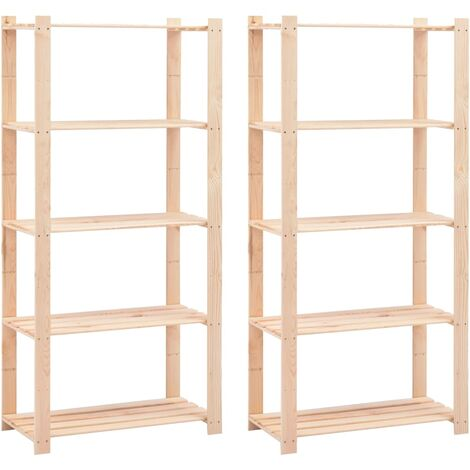 5-Tier Storage Racks 2 pcs 80x38x170 cm Solid Pinewood 250 kg