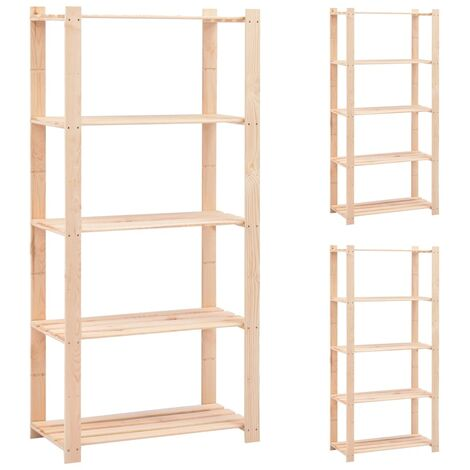 5-Tier Storage Racks 3 pcs 80x38x170 cm Solid Pinewood 250 kg