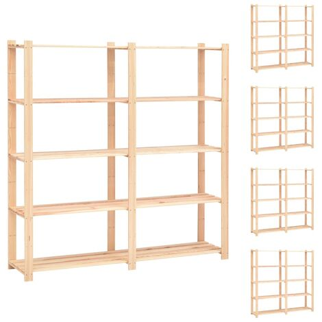 5-Tier Storage Racks 5 pcs 170x38x170 cm Solid Pinewood 500 kg
