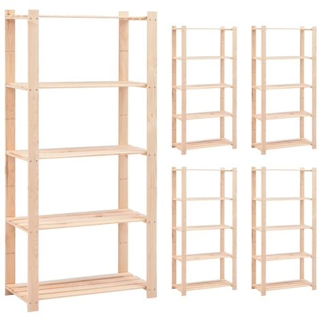 5-Tier Storage Racks 5 pcs 80x38x170 cm Solid Pinewood 250 kg
