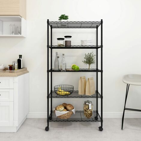 5-Tier Storage Shelf with Wheels 75x35x155 cm Black 250 kg