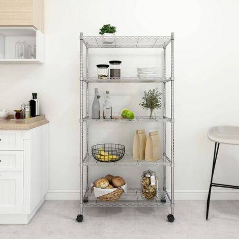 5-Tier Storage Shelf with Wheels 75x35x155 cm Chrome 250 kg