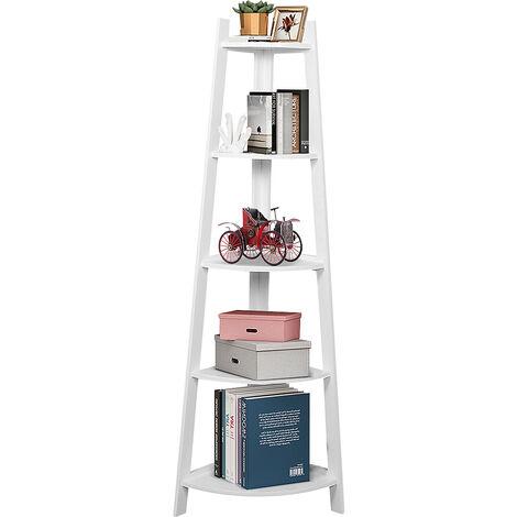 "main image of ""5 Tier Stylish Corner Ladder Shelving Unit Bookcase Storage Display White"""