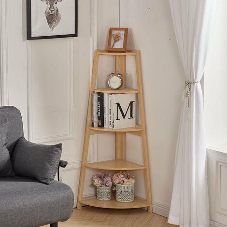 "main image of ""5 Tier Wooden Corner Shelf Shelving Rack Display Stand, Natural Color"""