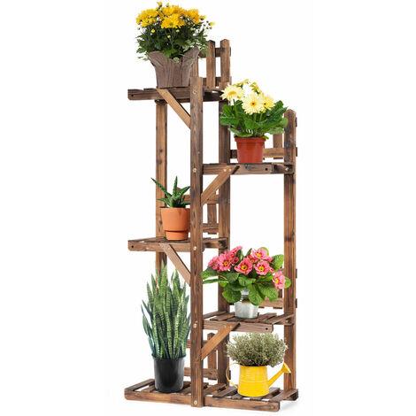 "main image of ""5-Tier Wooden Flower Stand Multifunction Frame Display Ladder Shelf Freestanding"""