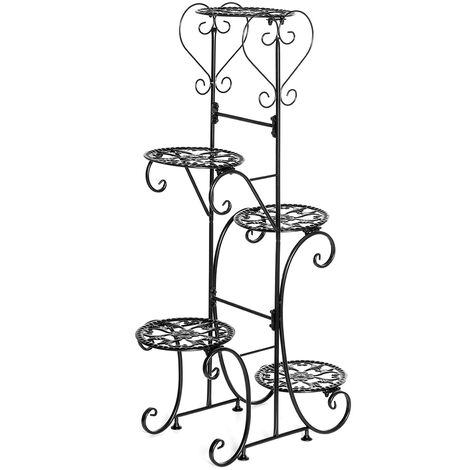 5 Tiers Holder Metal Plant Pot Stand 97cm Black Round Racks Flower Display Patio Garden Home