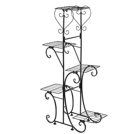 5 Tiers Holder Metal Plant Pot Stand Flower Display Patio Garden Home black Square Racks