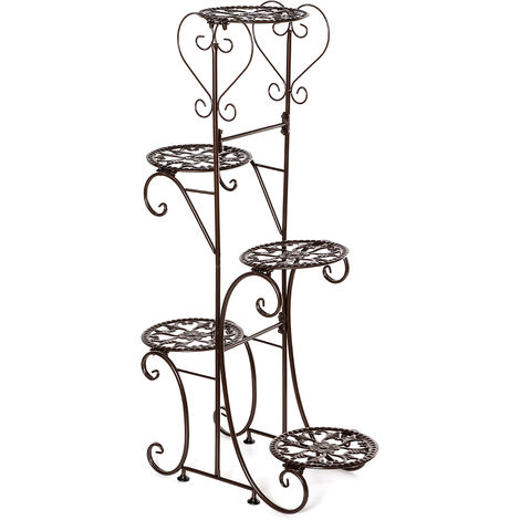 5 Tiers Holder Metal Plant Pot Stand Flower Display Patio Garden Home brown Round Racks