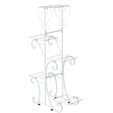 5 Tiers Holder Metal Plant Pot Stand Flower Display Patio Garden Home white Square Racks