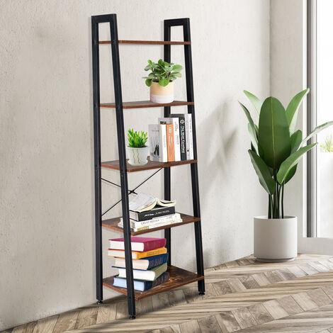 5 Tiers Industrial Ladder Shelf, Vintage Bookshelf, Storage Rack Shelf for Office, Bathroom, Living Room