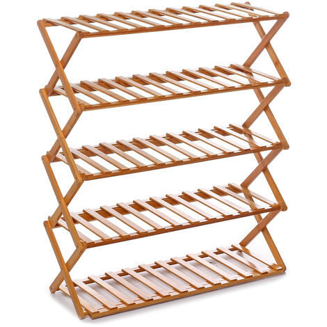 5 Tiers Installation-free Foldable Wooden Plant Stand Shoes Shelf Flower Pots Rack