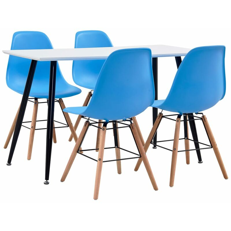 5-tlg. Essgruppe Kunststoff Blau - VIDAXL