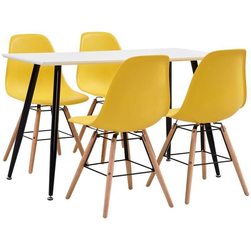 5-tlg. Essgruppe Kunststoff Gelb - VIDAXL