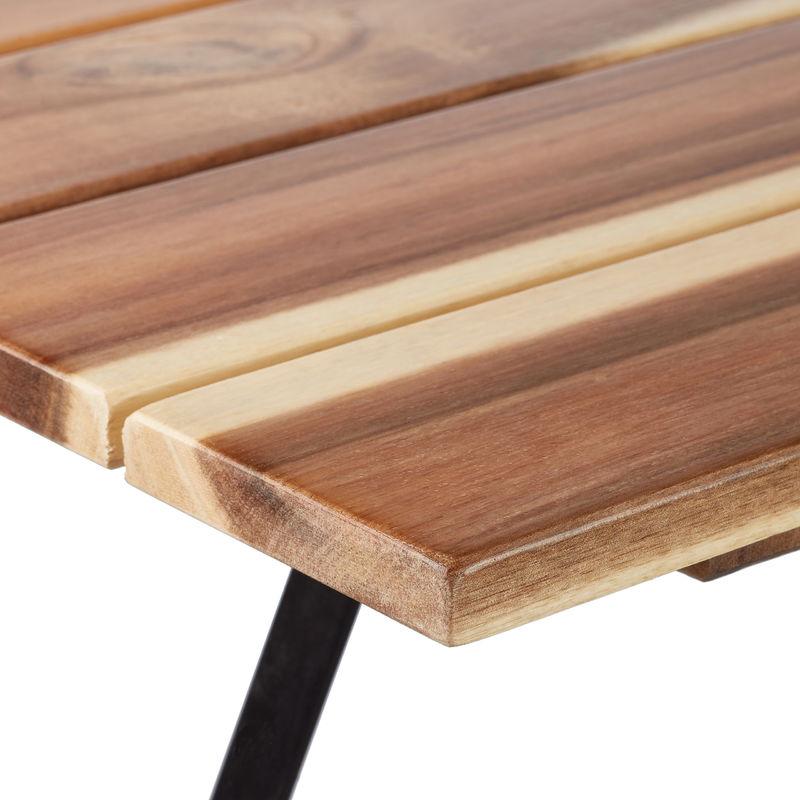 5 Tlg Gartensitzgruppe Aus Holz Großer Gartentisch Gartenstühle Klappbar Ohne Armlehnen Für 4 Personen Natur