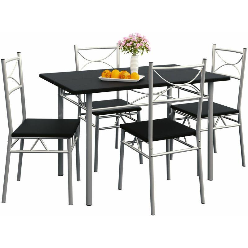Casaria Esstisch Küchentisch mit 4 Stühlen Esszimmergruppe Essgruppe Küche Tisch Stuhl Set schwarz
