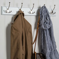 5 Triple Hook Hat & Coat Rail - White