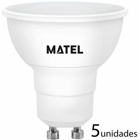 5 unidades bombilla LED dicroica 120 grados regulable GU10 8w fría 800lm