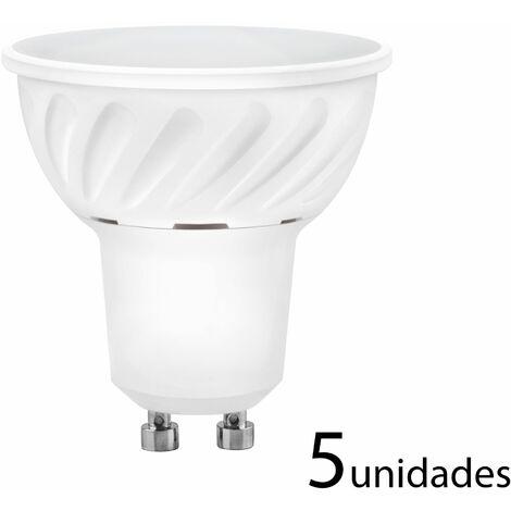 5 unidades Bombilla LED dicroica aluminio fundido 120 120 GU10 10W fría 1000lm