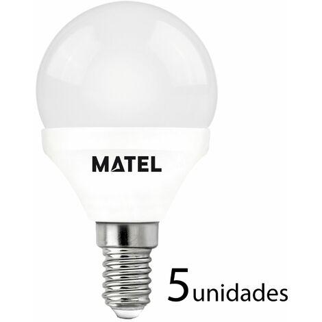 5 unidades bombilla LED esférica E14 7w cálida 650lm