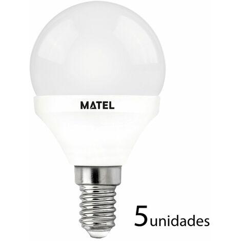 5 unidades bombilla LED esférica regulable E14 7w cálida 650lm