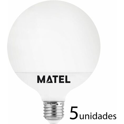 5 unidades bombilla LED globo G120 E27 18w neutra 1780lm