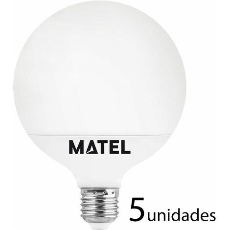5 unidades bombilla LED globo G80 E27 12w neutra 1180lm
