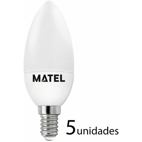 5 unidades bombilla LED vela E14 7w cálida 650lm