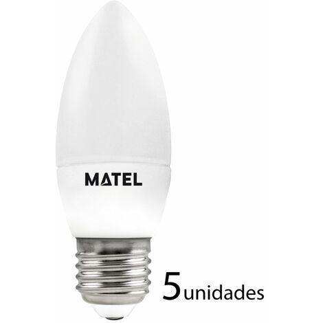 5 unidades bombilla LED vela regulable E27 7w neutra 680lm