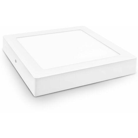 5 unidades downlight led superficie cuadrado blanco 18w neutra