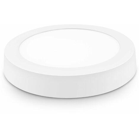 5 unidades downlight led superficie redondo blanco 18w cálida