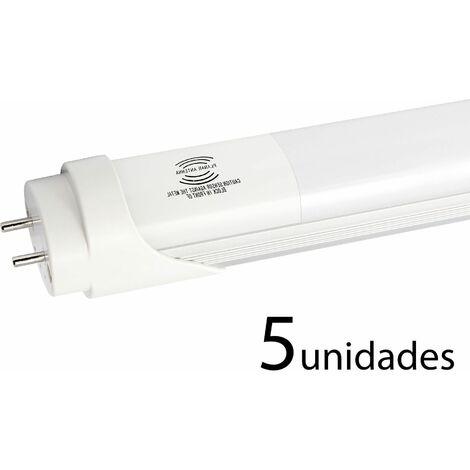 5 unidades tubo LED T8 ALUMINIO MATE 120cm 18W frío