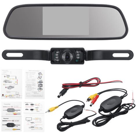 """5 """"vue arrière de voiture LCD moniteur de vue arrière/miroir caméra de recul sans fil enregistreur de stationnement Kit de marche arrière"""